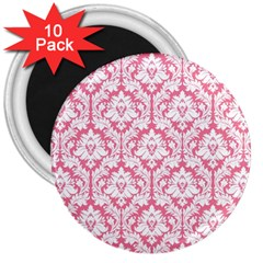 White On Soft Pink Damask 3  Button Magnet (10 pack)