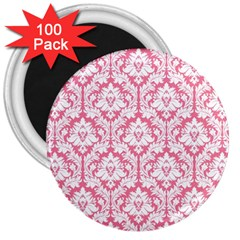 White On Soft Pink Damask 3  Button Magnet (100 pack)