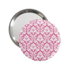 White On Soft Pink Damask Handbag Mirror (2.25 )