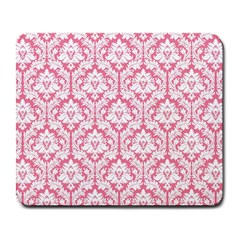 White On Soft Pink Damask Large Mouse Pad (rectangle)