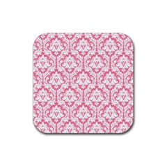 White On Soft Pink Damask Drink Coaster (Square)