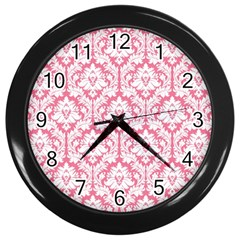 White On Soft Pink Damask Wall Clock (black)