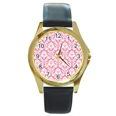 White On Soft Pink Damask Round Leather Watch (Gold Rim)