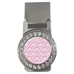 White On Soft Pink Damask Money Clip (cz)