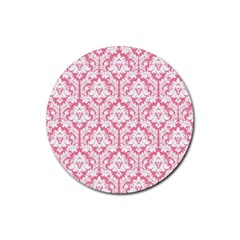 White On Soft Pink Damask Drink Coasters 4 Pack (Round)