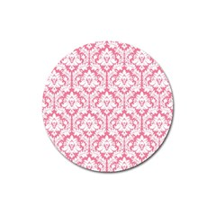 White On Soft Pink Damask Magnet 3  (round)