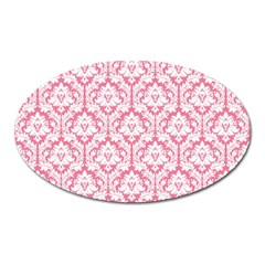 White On Soft Pink Damask Magnet (Oval)