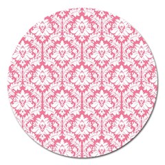 White On Soft Pink Damask Magnet 5  (round)