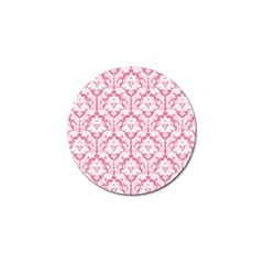 White On Soft Pink Damask Golf Ball Marker