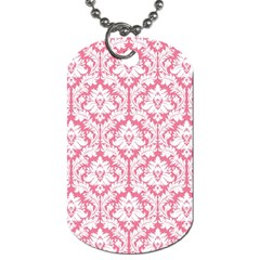 White On Soft Pink Damask Dog Tag (two Sided)