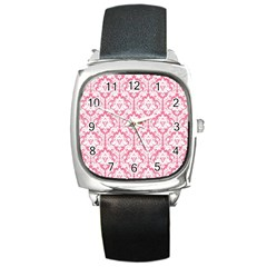 White On Soft Pink Damask Square Leather Watch