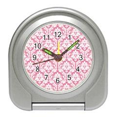 White On Soft Pink Damask Desk Alarm Clock