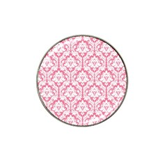 White On Soft Pink Damask Golf Ball Marker 4 Pack (for Hat Clip)