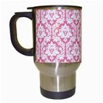 White On Soft Pink Damask Travel Mug (White) Left