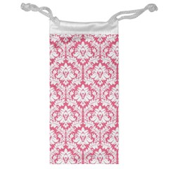 White On Soft Pink Damask Jewelry Bag
