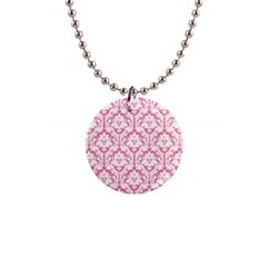 soft Pink Damask Pattern 1  Button Necklace