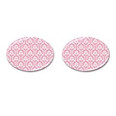 White On Soft Pink Damask Cufflinks (Oval)