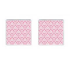 White On Soft Pink Damask Cufflinks (Square)