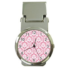 White On Soft Pink Damask Money Clip with Watch