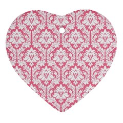 White On Soft Pink Damask Heart Ornament (two Sides)