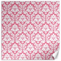 White On Soft Pink Damask Canvas 12  x 12  (Unframed)