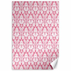 White On Soft Pink Damask Canvas 12  x 18  (Unframed)