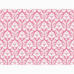 White On Soft Pink Damask Canvas 18  X 24  (unframed)