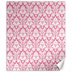 White On Soft Pink Damask Canvas 20  x 24  (Unframed)
