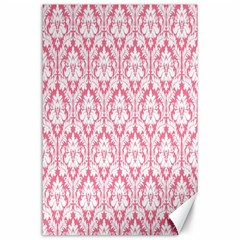 White On Soft Pink Damask Canvas 24  X 36  (unframed)