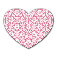 White On Soft Pink Damask Mouse Pad (heart)