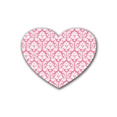 White On Soft Pink Damask Drink Coasters (Heart)