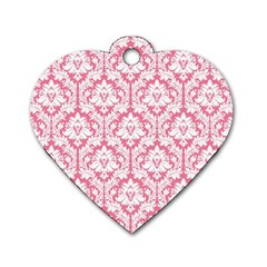 White On Soft Pink Damask Dog Tag Heart (Two Sided)