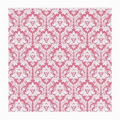 White On Soft Pink Damask Glasses Cloth (medium, Two Sided)