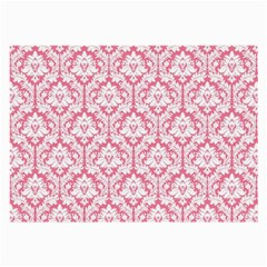 White On Soft Pink Damask Glasses Cloth (Large)