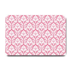White On Soft Pink Damask Small Door Mat