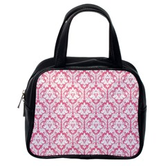 White On Soft Pink Damask Classic Handbag (One Side)