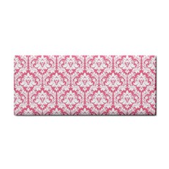 White On Soft Pink Damask Hand Towel