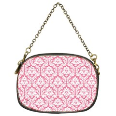 White On Soft Pink Damask Chain Purse (One Side)