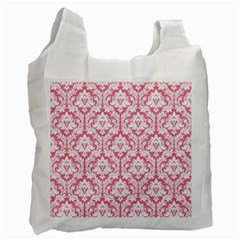White On Soft Pink Damask White Reusable Bag (One Side)