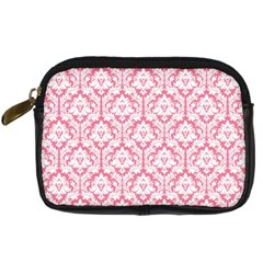 White On Soft Pink Damask Digital Camera Leather Case