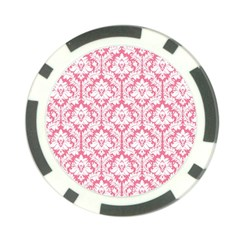 White On Soft Pink Damask Poker Chip (10 Pack)
