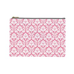 Soft Pink Damask Pattern Cosmetic Bag (large)