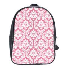 soft Pink Damask Pattern School Bag (Large)