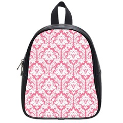 White On Soft Pink Damask School Bag (Small)