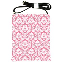 soft Pink Damask Pattern Shoulder Sling Bag