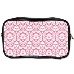 White On Soft Pink Damask Travel Toiletry Bag (one Side)