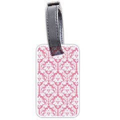 White On Soft Pink Damask Luggage Tag (One Side)
