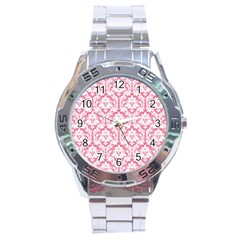 White On Soft Pink Damask Stainless Steel Watch