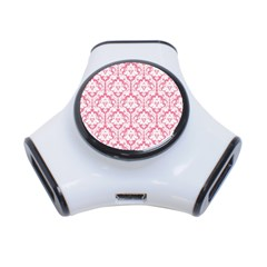 White On Soft Pink Damask 3 Port USB Hub