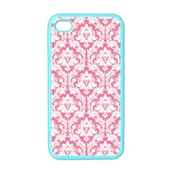 White On Soft Pink Damask Apple Iphone 4 Case (color)